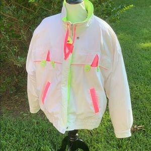 NYG vintage 1980's neon puffer coat LARGE